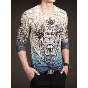 Fashionable Totem Print V-Neck Long Sleeve Tee For Men - COLORMIX 3XL