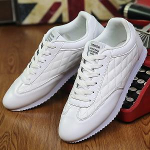 Fashionable Checked and Solid Color Design Athletic Shoes For Men - WHITE 43
