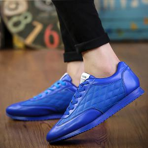Fashionable Checked and Solid Color Design Athletic Shoes For Men - SAPPHIRE BLUE 41