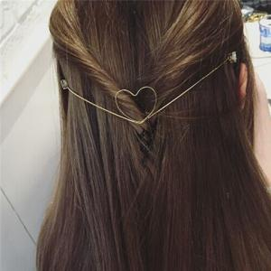 Charming Cut Out Heart Shape Solid Color Gold Plated Hairband For Women -