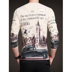 Vintage City Print V-Neck Long Sleeve Tee For Men - BEIGE XL