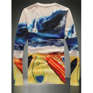 Refreshing Beach Print V-Neck Long Sleeve Tee For Men - COLORMIX 3XL