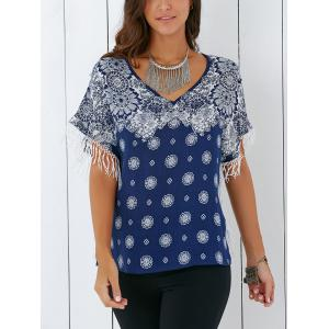 Vintage V Neck Tribal Print Fringed Blouse - DEEP BLUE XL