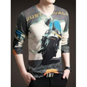 Stylish Moto Print V-Neck Long Sleeve Tee For Men - COLORMIX 3XL