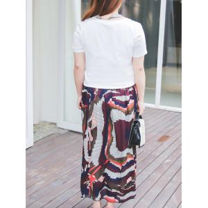 Plus Size Tie Neck T-Shirt and Printed Maxi Skirt -