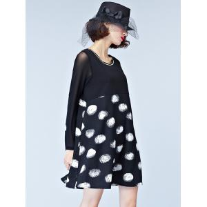 Chic Mesh-Insert Polka Dot Women's Dress -