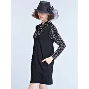 Trendy Cowl Neck Pocket Design Splicing Women's Dress -