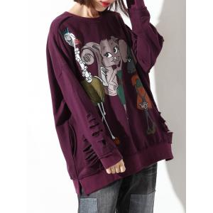 Ripped Cartoon Print Loose Sweatshirt -