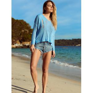 Alluring V Neck Hollow Out Crochet Cover-Up - AZURE XL
