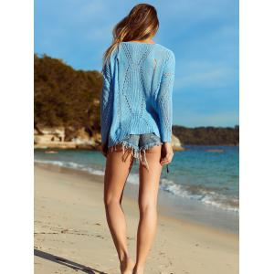 Alluring V Neck Hollow Out Crochet Cover-Up -