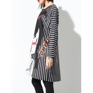Striped Printed Long Sleeve Loose Dress -