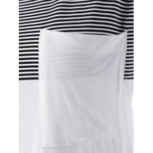 Color Block Asymmetrical T-Shirt - WHITE AND BLACK M
