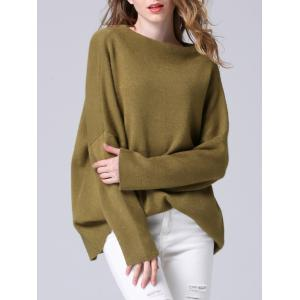 Elegant Dolman SLeeve Pure Color Loose-Fitted Chunky Sweater -