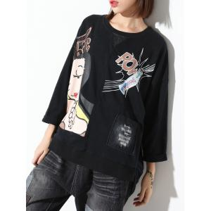 Long Sleeve Print Loose-Fitting Sweatshirt -