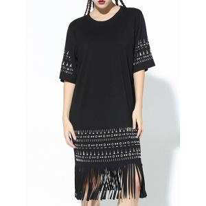 Fashion Rivet Design Fringe Loose Shift Dress -