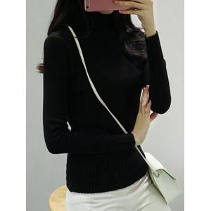 High Neck Pure Color Long Sleeve Sweater - BLACK ONE SIZE