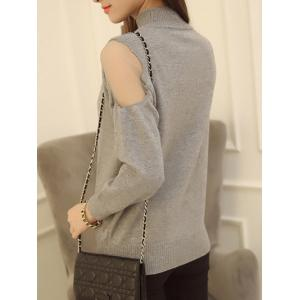 Voile Splicing High Neck Candy Color Sweater -