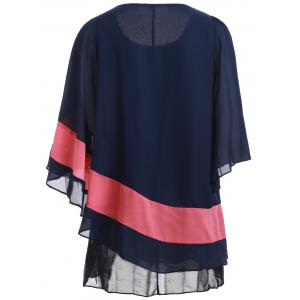 Color Block Batwing Sleeve Flowy Blouse - DEEP BLUE 3XL