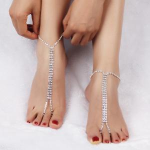 Pair of Layered Rhinestone Anklets -