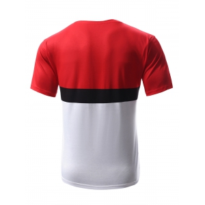 Abstract Print Color Block Round Neck Short Sleeves T-Shirt For Men - RED/WHITE XL