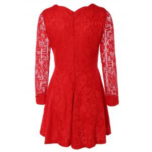 Lace Sleeve Scalloped Neck Skater Dress - RED 2XL