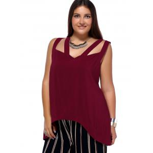 Alluring Plus Size Cut Out Criss Cross Asymmetrical Women's Blouse - WINE RED 5XL