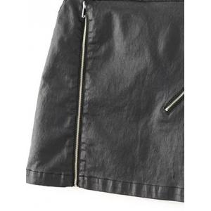 Faux Lether Zip Mini Skirt - BLACK L