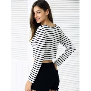 Slim Fit Long Sleeve Striped Crop Top -