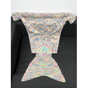 Super Soft Crochet Knitting Hollow Out Rhombus Design Mermaid Tail Blanket - COLORMIX