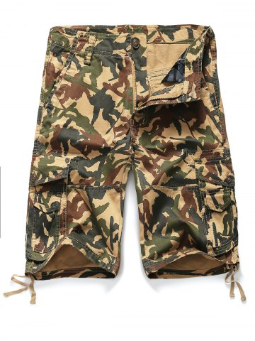 Shop Zipper Fly Straight Leg Pockets Embellished Camouflage Shorts CAMOUFLAGE 3XL
