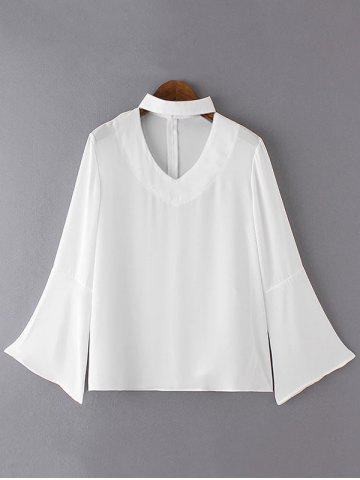 Online Brief Women's Flare Sleeves Pure Color Blouse WHITE XL