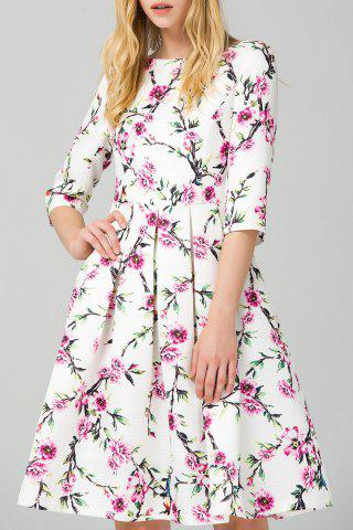 Trendy Flower Print Flare Dress