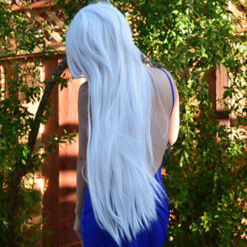 Outfit 80CM Charming Glossy Side Bang Long Straight Heat Resistant Fibre Versatile Cosplay Wig - WHITE  Mobile
