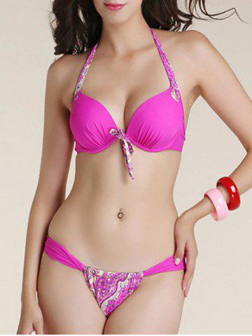 Alluring Halter Neck Bowknot Printed Bikini Set For Women - Rose Red - S