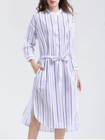 Buy Elegant Long Sleeve Vertical Stripe Belted Slit Shirt Dress