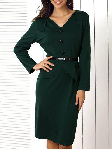 Trendy Buttoned Faux Two-Piece Dress For Women GREEN XL