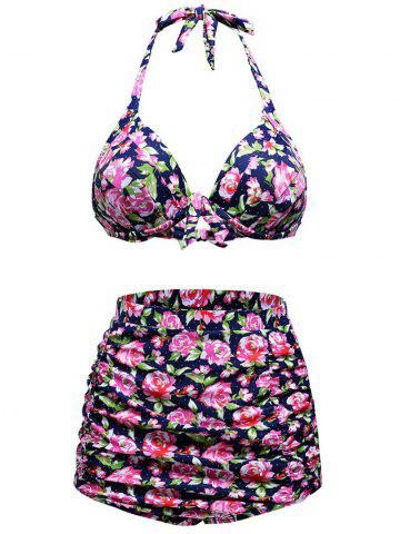 Stylish Floral Print High Waist Halter Bikini Set - Colormix - M