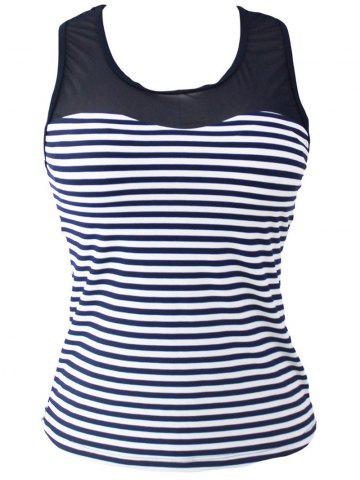 Affordable Mesh Panel Racerback Stripe Padded Tankini Top - 2XL STRIPE Mobile