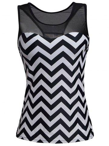 Discount Zigzag Mesh Panel Padded Racerback Tankini Swimwear - L STRIPE Mobile
