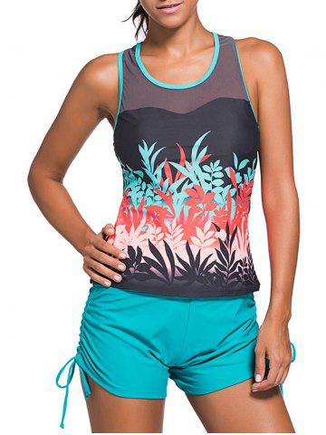 Trendy Mesh Panel Padded Racerback Tankini Swimwear - L COLORMIX Mobile