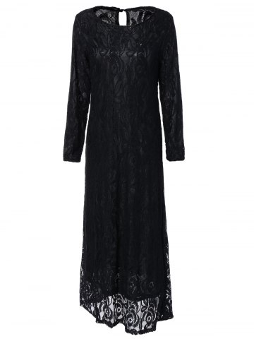Affordable Long Sleeve Maxi Lace Party Prom Dress BLACK XL