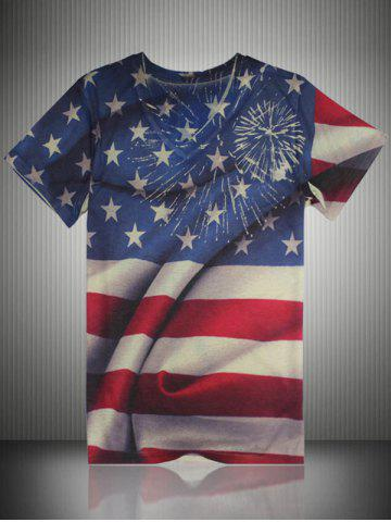 Fancy Distressed American Flag Print V Neck T-Shirt COLORMIX 2XL