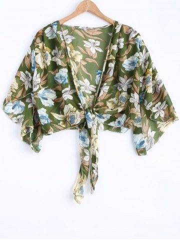 Unique Retro Style Floral Print Chiffon Tunic Blouse