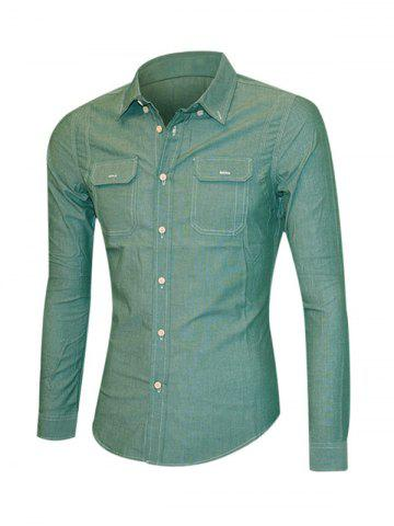 Discount Solid Color Pockets Front Long Sleeve Button-Down Shirt For Men