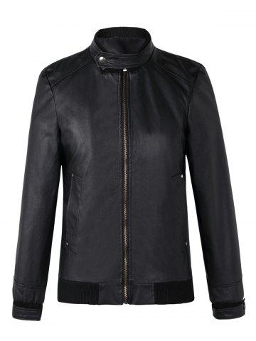 Fashionable Stand Collar Long Sleeve Ribbed Hem Leather Jacket For Men