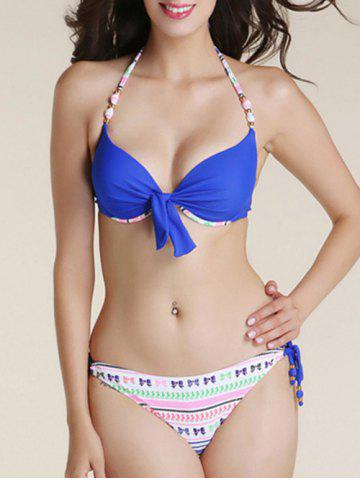 Discount Fashionable Bowknot Printed Bikini Suit For Women BLUE XL