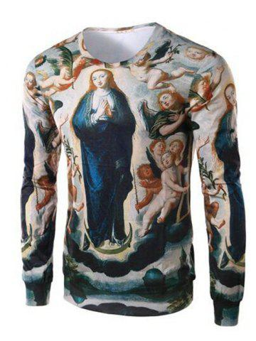 Unique Ave Maria Print Round Collar Long Sleeve Tee For Men COLORMIX 4XL