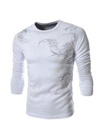 Hot Tattoo Style Chinoiserie Print Round Neck Long Sleeve T-Shirt For Men WHITE 2XL