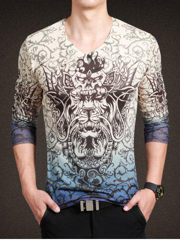 Buy Fashionable Totem Print V-Neck Long Sleeve Tee For Men COLORMIX 3XL