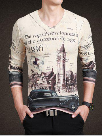 New Vintage City Print V-Neck Long Sleeve Tee For Men BEIGE XL